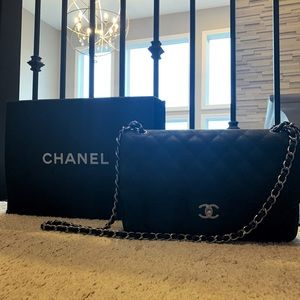 Authentic Chanel Black Caviar Jumbo